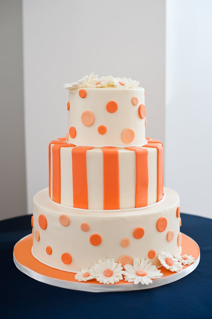 Modern meets mod in a playful orange cake.