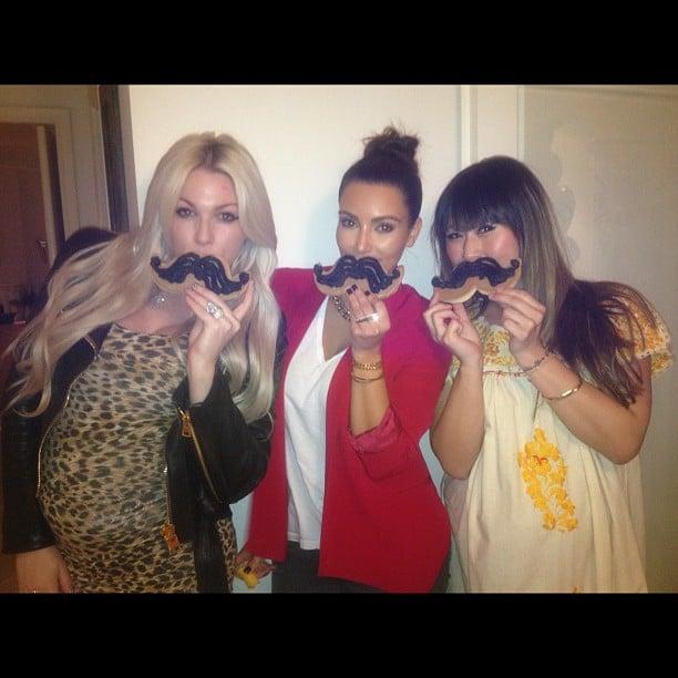 Kim Kardashian clowned around with mustache-shaped cookies. Source: Instagram user kimkardashian