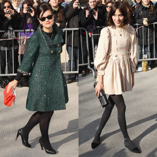 Pictures of Celebrities from the 2011 Fall Autumn Chanel Show Including Lily Allen, Alexa Chung, Florence Welch, Emma Roberts