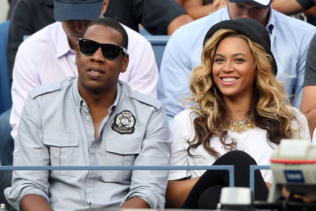 Beyoncé chose a casual t-shirt and black leggings for her courtside seats at the US Open.