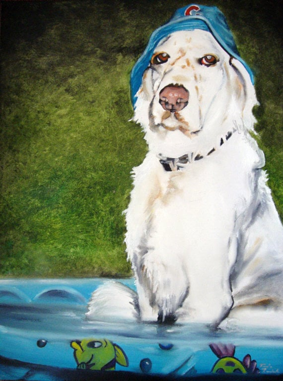 How funny is this silly painting ($300)? The sillier your pet photo, the more unique and smile-inducing your portrait will be.