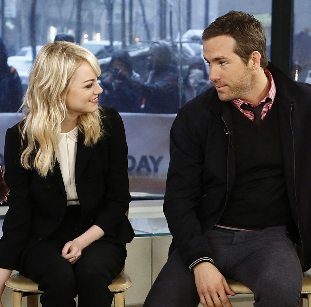 Emma Stone and Ryan Reynolds shared a moment while sitting on stools during an interview on the Today show.