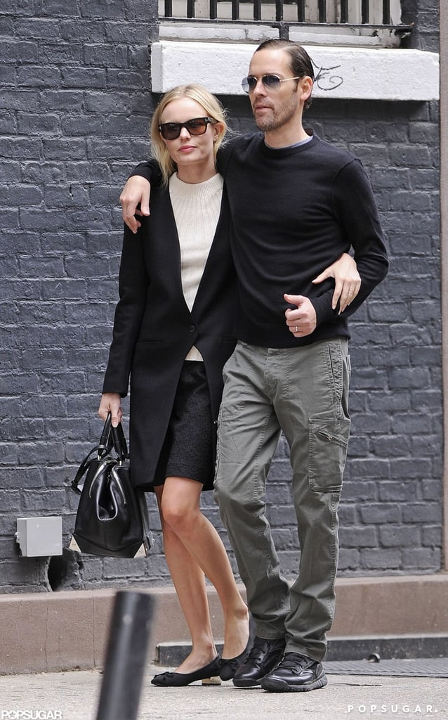 Kate Bosworth and boyfriend Michael Polish stayed close while strolling through the West Village in NYC.