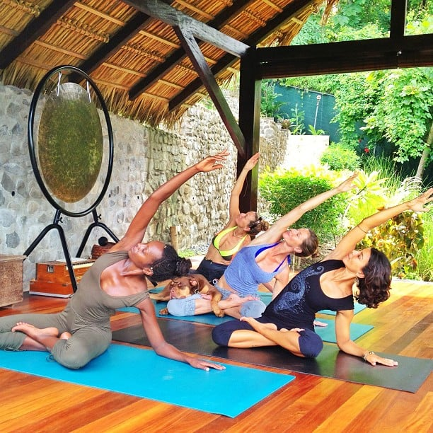 Gisele Bündchen did some midday yoga with her girlfriends (and her dog, Lua). Source: Instagram user giseleofficial