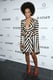 Never one to shy away from bold print, Solange Knowles showed off a peplum-trimmed striped dress and bright ankle-strap heels.