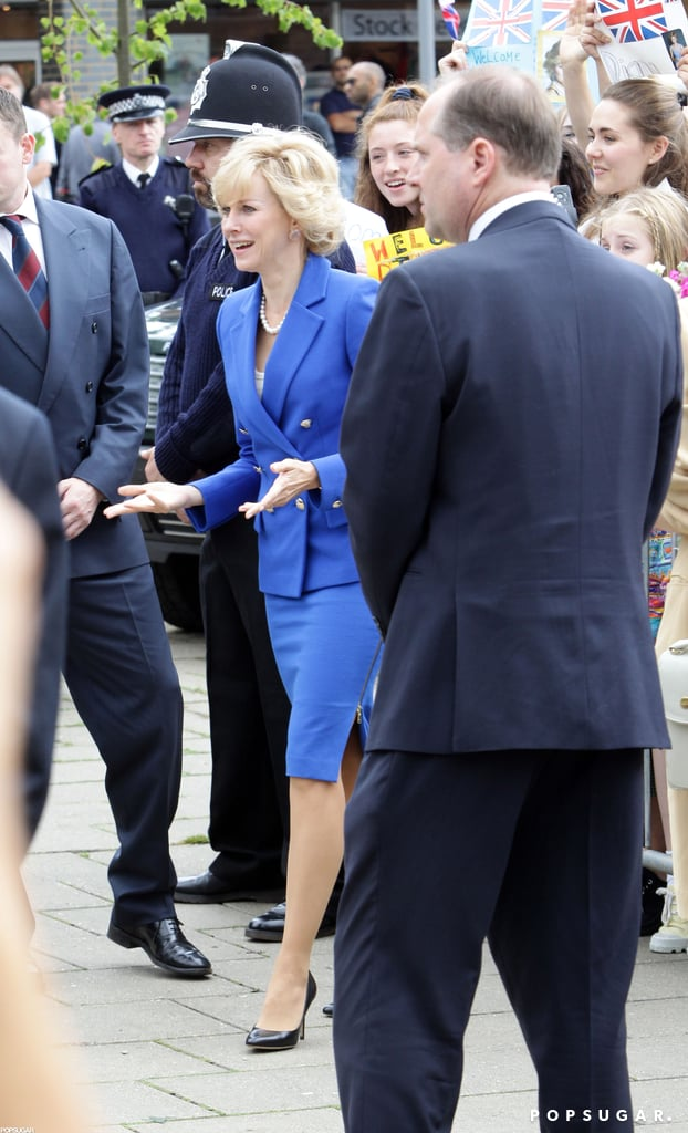 Naomi Watts filmed in a blue suit to play Princess Diana.