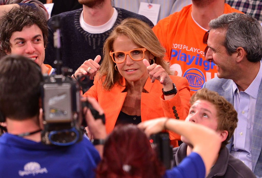 Katie Couric got silly for the camera during a NY Knicks playoff game in May 2013.