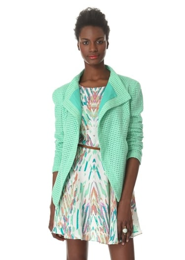 If you're on the hunt for a new jacket to reinvigorate your Spring wardrobe, look no further than this shawl-collar Addison topper ($198). From the refreshing spearmint hue to the tailored eyelet details, this jacket is sure to be the topic of conversation wherever you go. Layer it over your favorite floral mini or keep it cool with an all-white ensemble. — Mandi Villa