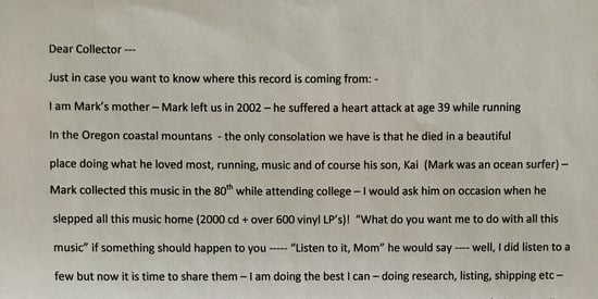 Note Found In Secondhand Vinyl Is Touching Tribute To Late Music Fan