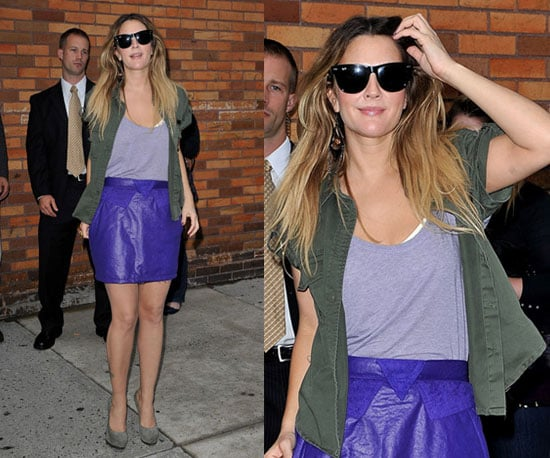 Drew Barrymore in NYC Wearing a Purple Leather Skirt