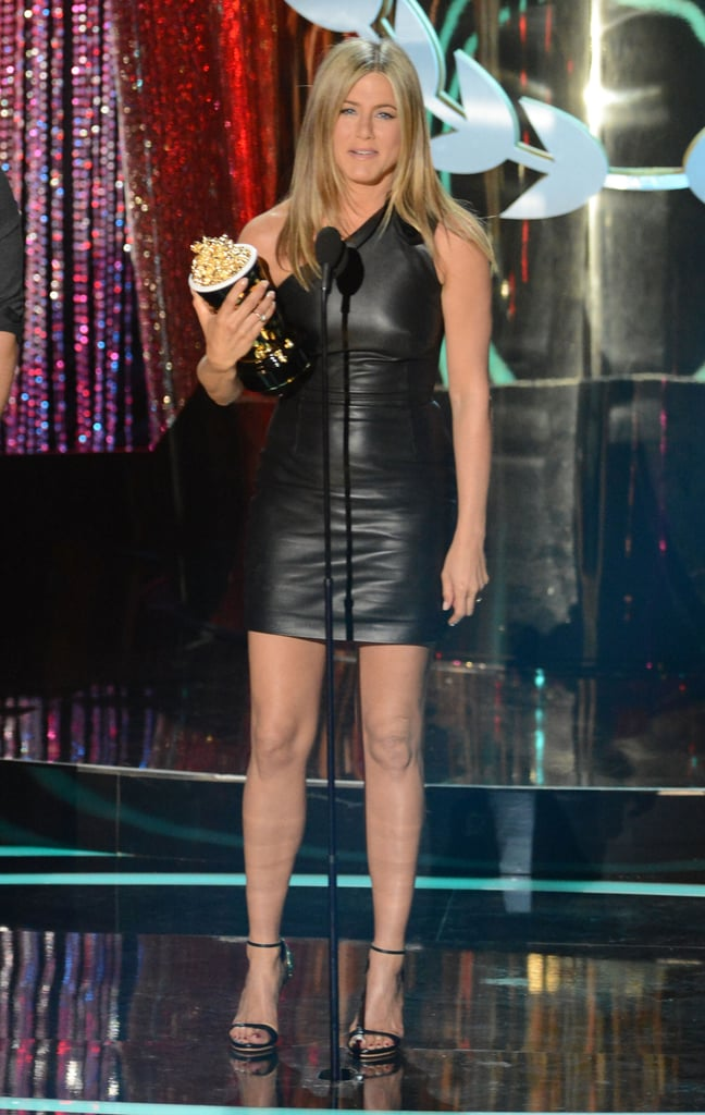 Jennifer Aniston took the stage at the MTV Movie Awards in a skintight black leather Valentino mini this September.