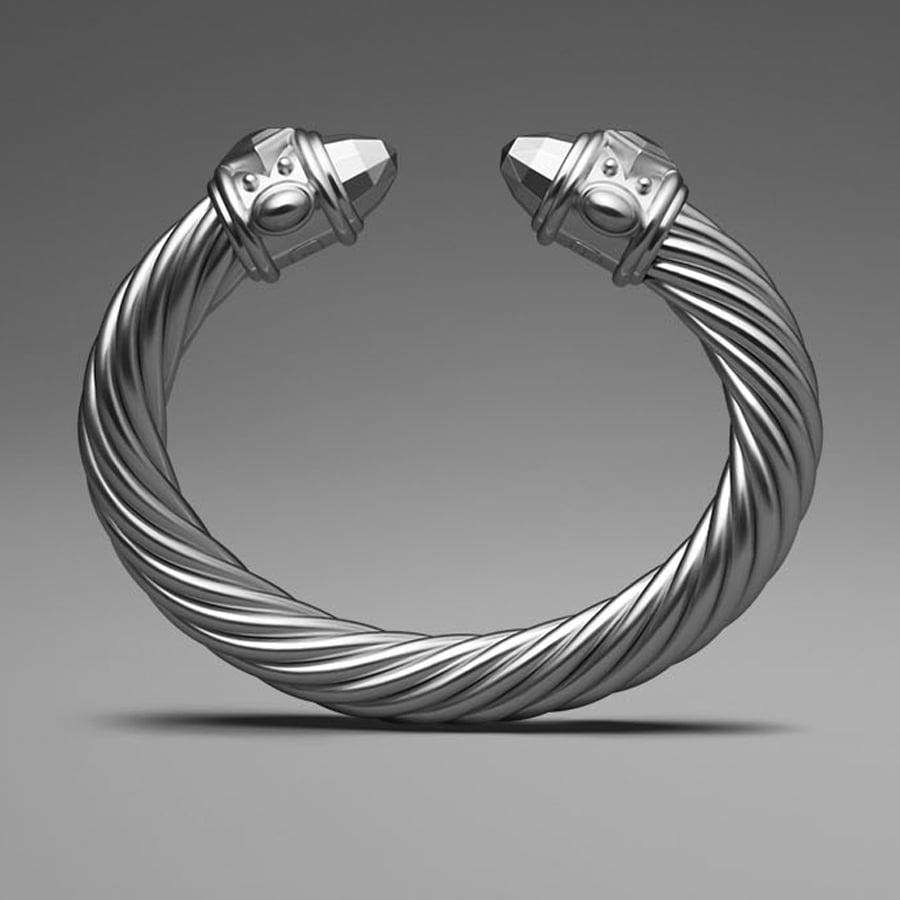 David Yurman Silver Aluminum Cable Bracelet