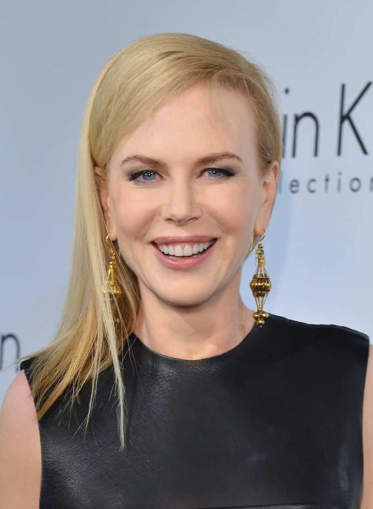 It was a casual look for Nicole Kidman at the Calvin Klein event at Cannes. She wore her shoulder-length hair superstraight with slightly smoky eye makeup.