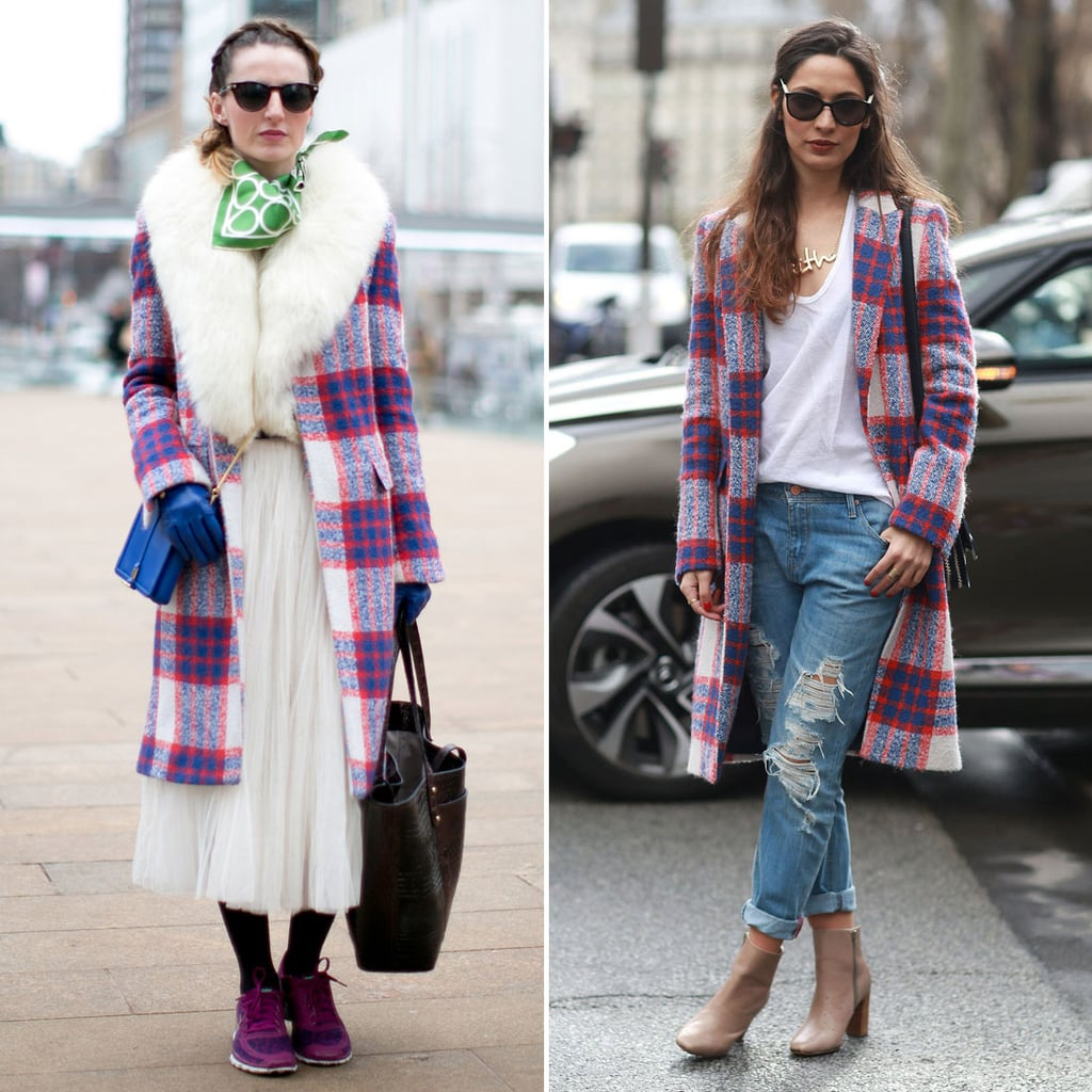 One showgoer in NYC shopped the same plaid coat as this attendee in Paris. We can hardly blame them for being drawn to the chic topper.  Source: Tim Regas and IMAXTREE