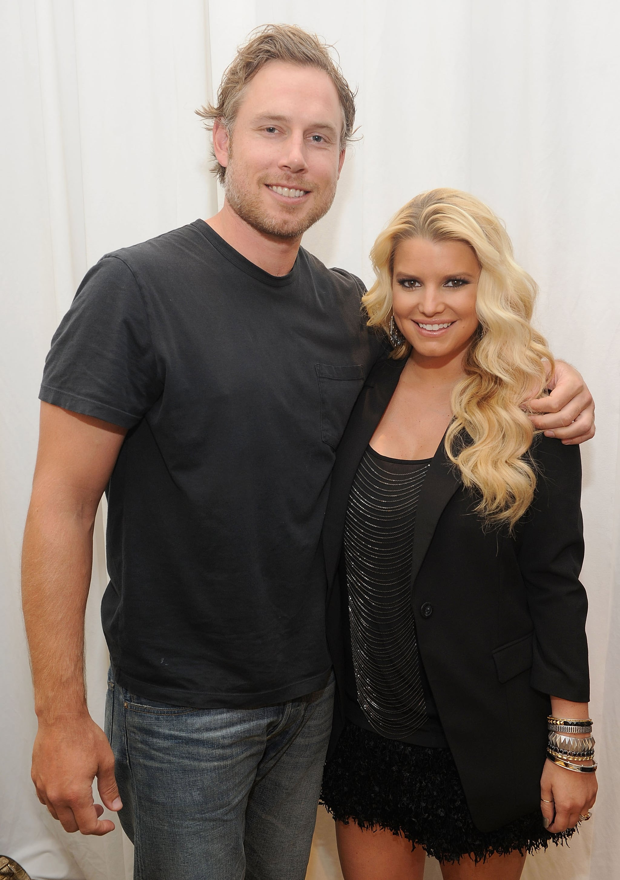 The couple posed during Jessica's in-store appearance at Macy's in San Francisco in October 2011.