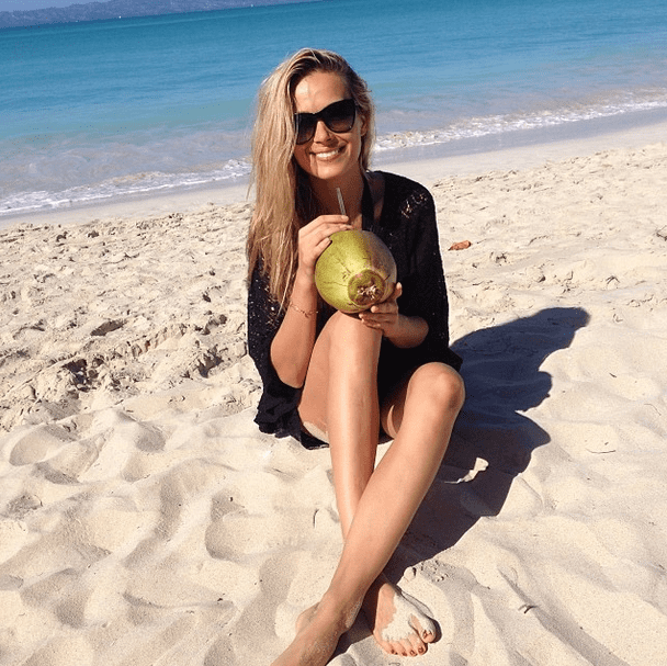 As fresh as it gets! Petra Nemcova took a sweet sip straight from her coconut. Source: Instagram user pnemcova