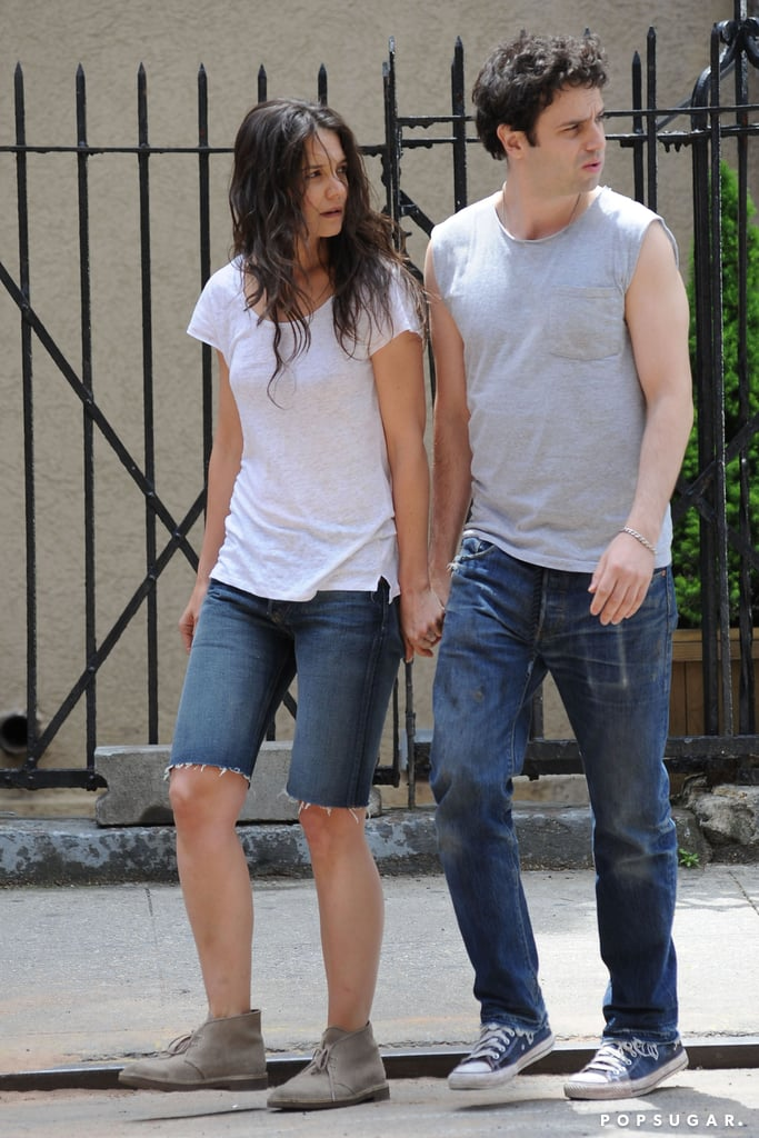 Katie Holmes and her costar Luke Kirby held hands on set.