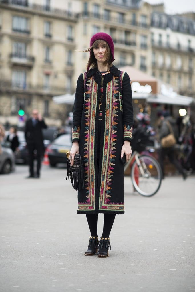 The much-photographed Anya Ziourova gave us a Winter gypset look.  Source: Le 21ème   Adam Katz Sinding