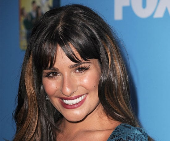 Lea Michele's Burgundy Lip Color at the Glee Season Two Party