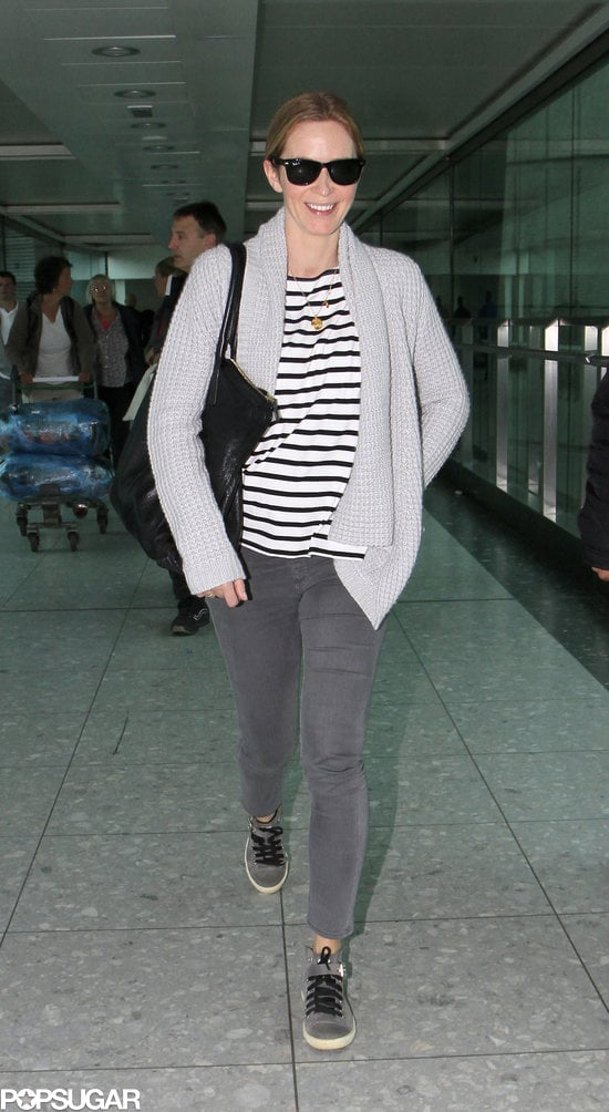 Pregnant Emily Blunt touched down in London wearing this Hatch Collection striped long-sleeved tee ($98) with gray skinny denim and sneakers.