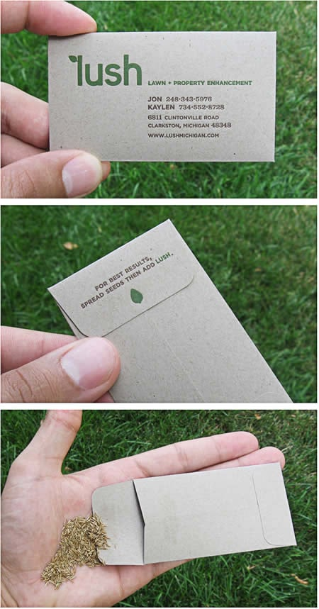 """Business card from """"Lush Lawn and Property Enhancement,"""" stuffed with grass seed."""