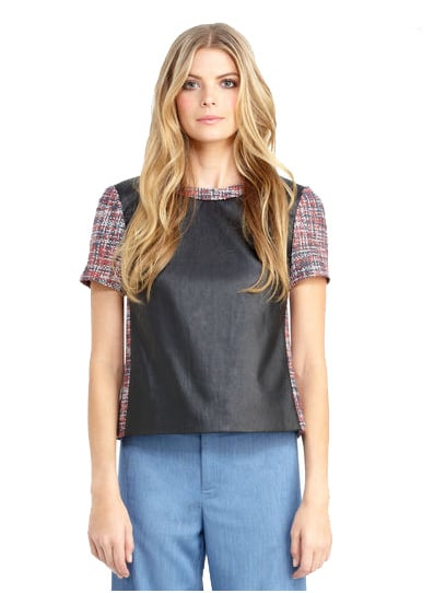 Rachel Roy's tweed and leather tee ($89) can be worn in a variety of ways: with trousers at the office, with denim for a weekend outing, and with leather shorts for a leather-on-leather look.