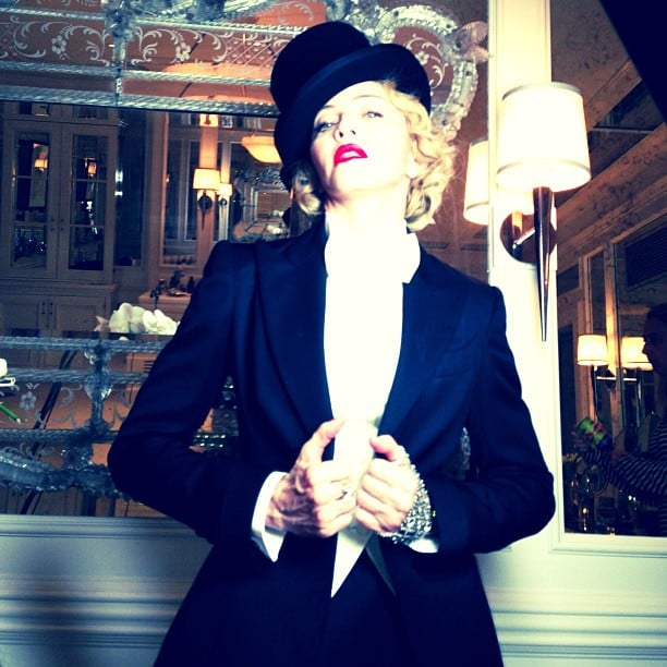 Madonna channeled Marlene Dietrich in a Dolce & Gabbana ensemble for the premiere of her MDNA tour film in NYC. Source: Instagram user madonna