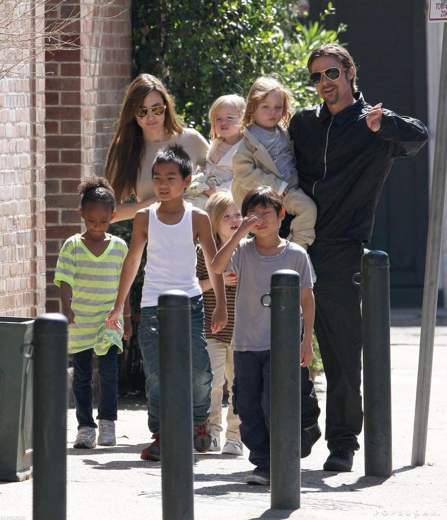 He and Angelina Jolie Sleep With Their Kids