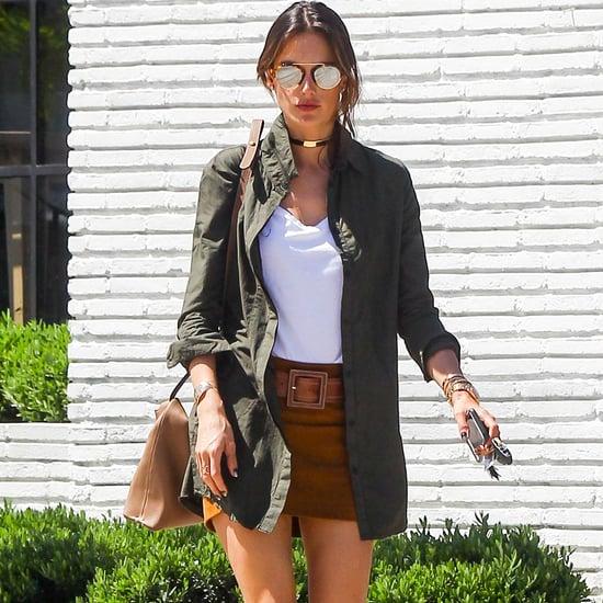Alessandra Ambrosio Wearing a Brown Miniskirt Spring 2016