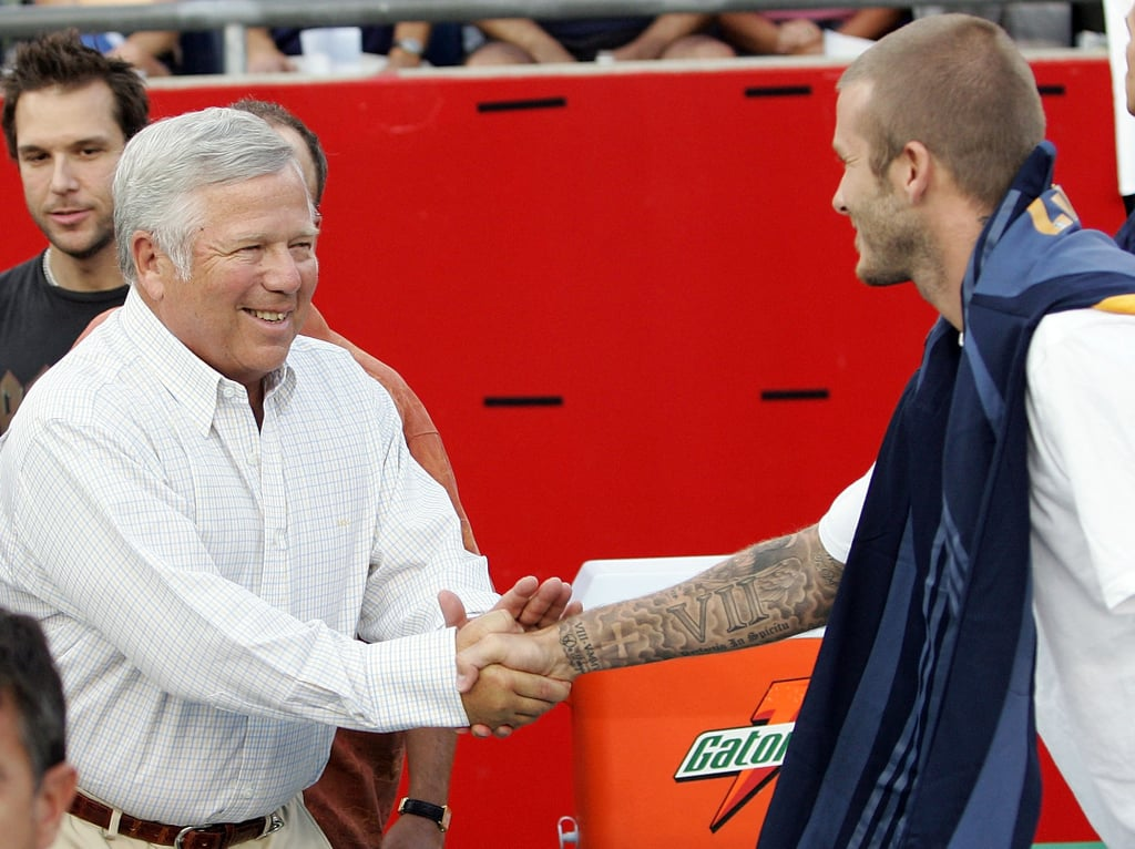 New England Patriots owner Robert Kraft hit the field to say hi to David Beckham after his August 2007 match in Foxboro.