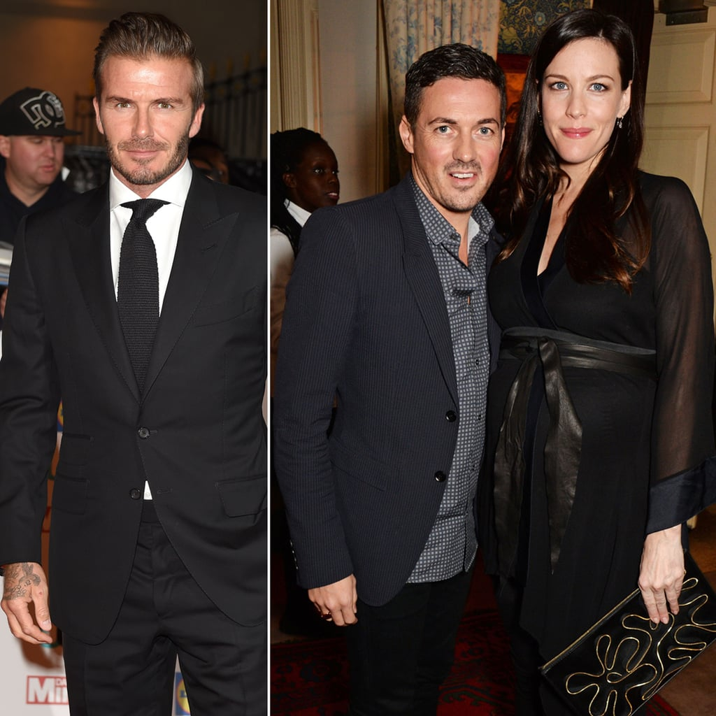 . . . David Gardner and Liv Tyler! David and David have been close friends for years, and Liv and David welcomed their son Sailor in February 2015 and wasted no time in naming the former soccer star as his godfather.