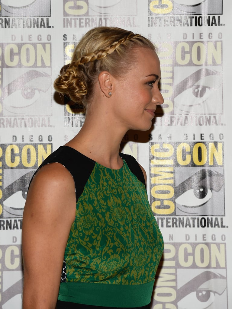 The side view shows Yvonne's braid/bun hybrid, which was both sexy and edgy.
