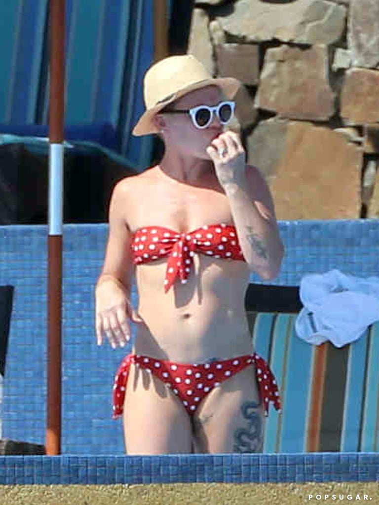 Pink had a snack in her bikini in Mexico.