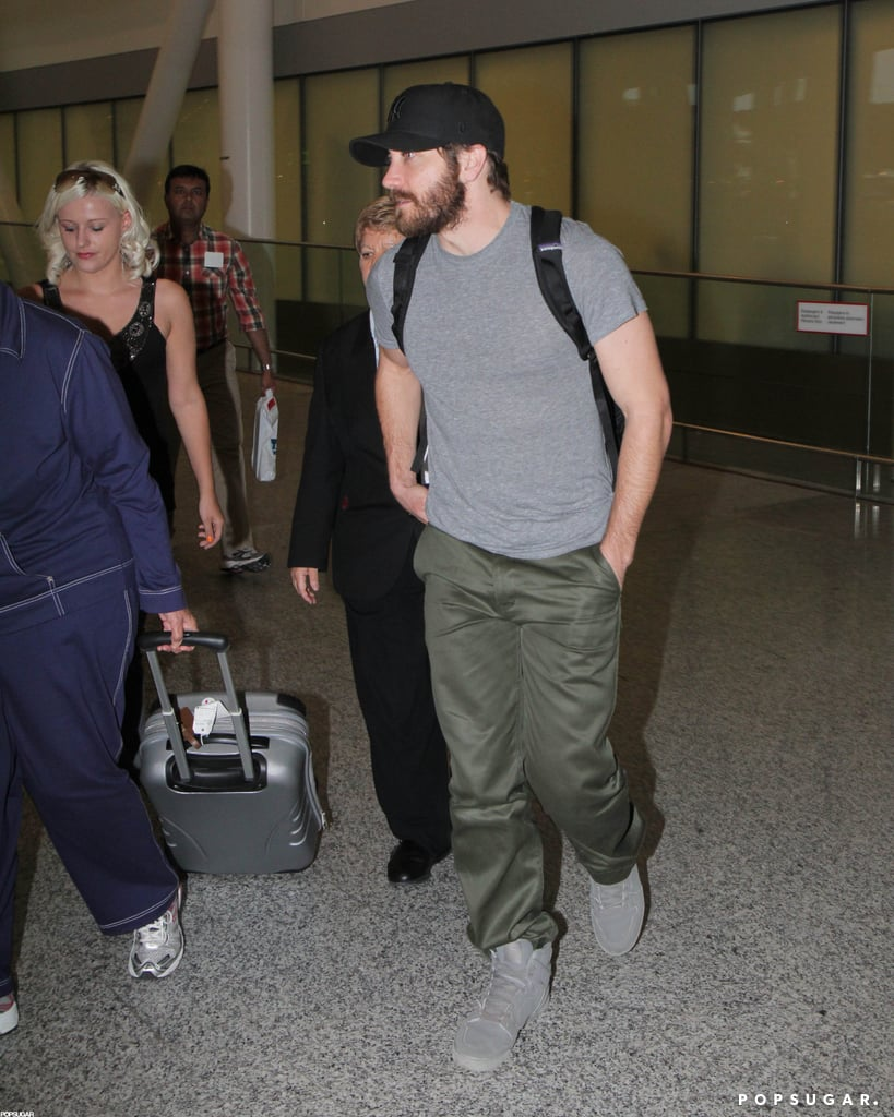 Jake Gyllenhaal wore a hat as he arrived at the Toronto airport.
