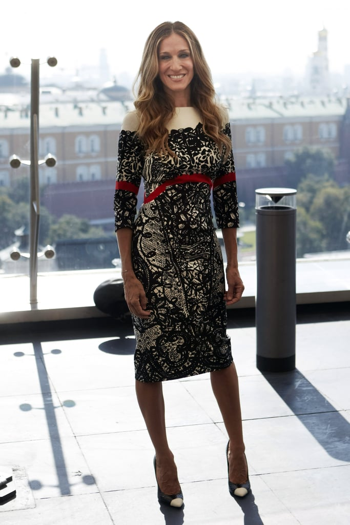 Sarah Jessica Parker went sophisticated in a tricolor lace Prabal Gurung sheath at an August 2011 photocall in Moscow.