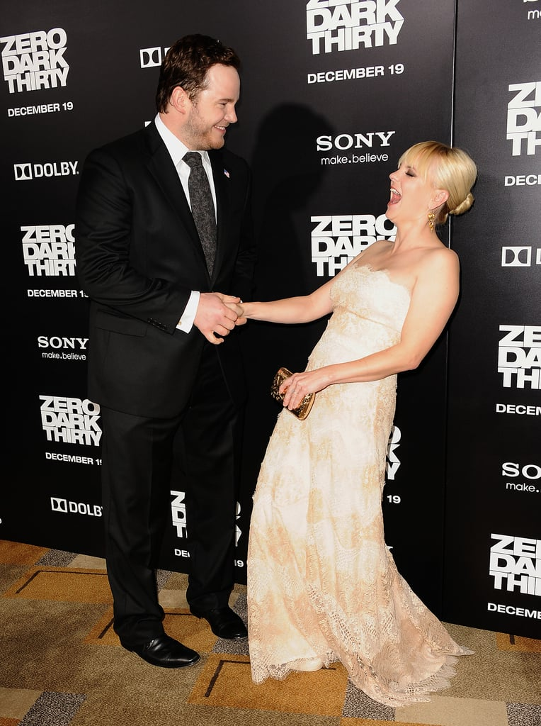 Chris had Anna cracking up at the 2012 premiere of Zero Dark Thirty in LA.