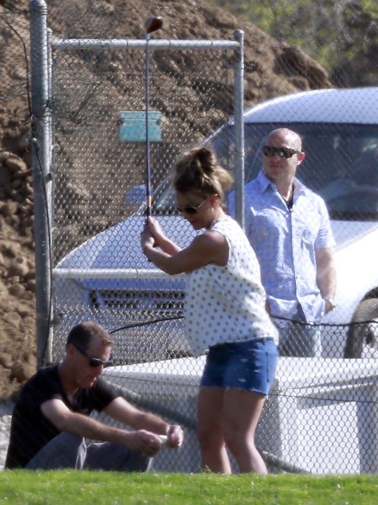 Britney Spears practiced her swing.