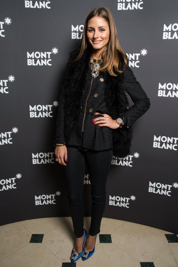 Olivia went casual with a glamorous twist, adding a jewelled statement necklace and a pair of embellished blue Manolo Blahnik heels to her all-black look at a Montblanc dinner in Switzerland in January.