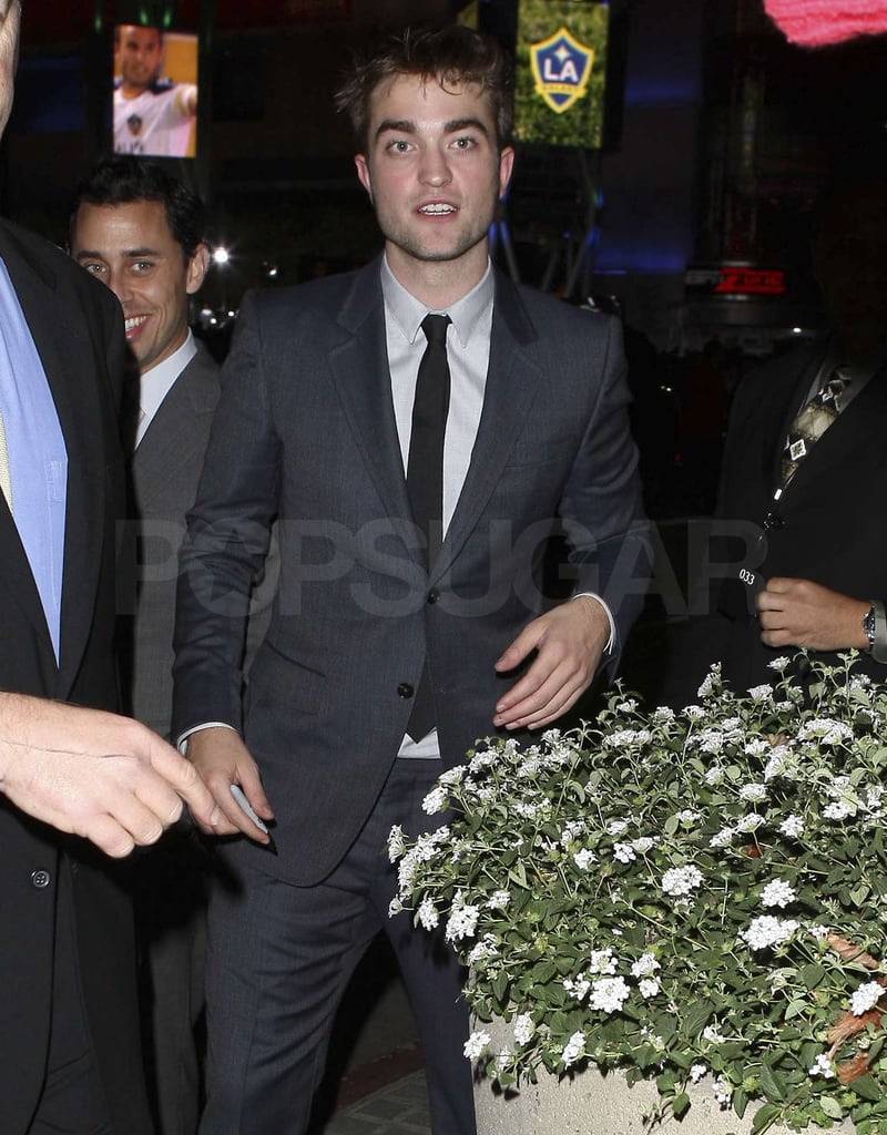 Robert Pattinson was greeted by a crowd of fans.