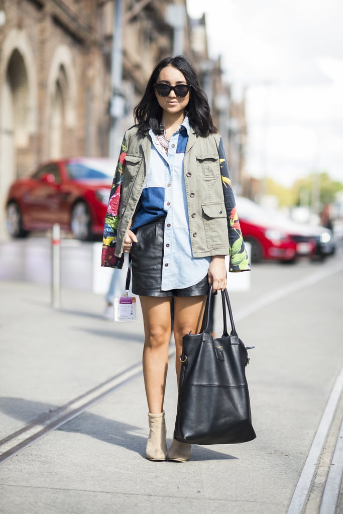 Show off your stems, but stay covered up on top with a great chambray and anorak — a leather mini furthered the outfit interest here. Source: Le 21ème | Adam Katz Sinding