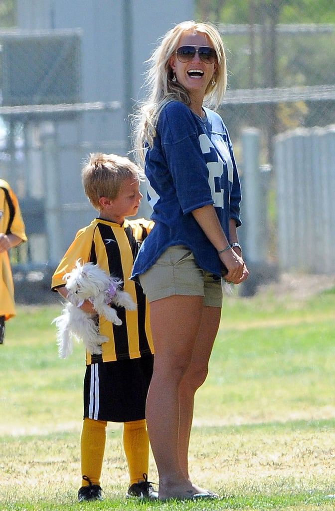 Britney Spears Brings Her Pup to the Sidelines For Her Sons' Soccer Game