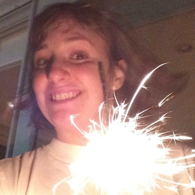 Lena Dunham played with sparklers. Source: Instagram user lenadunham