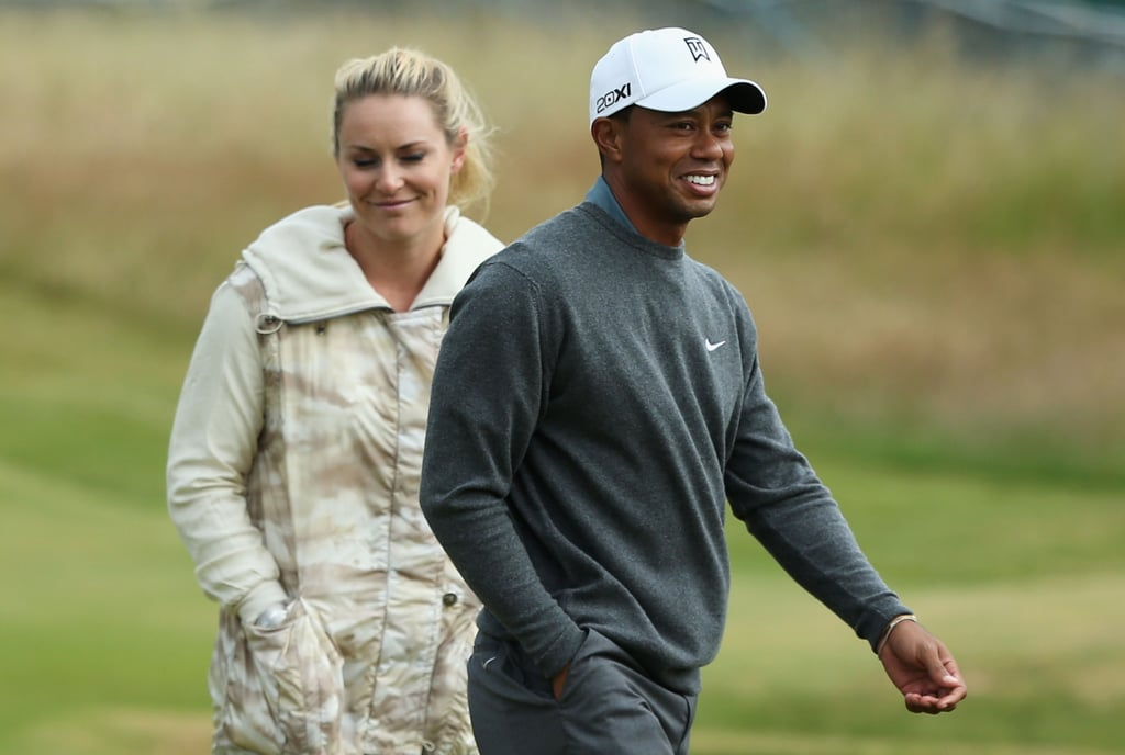 Olympic skier Lindsey Vonn and golfer Tiger Woods were all smiles ahead of the 142nd British Open Championship.