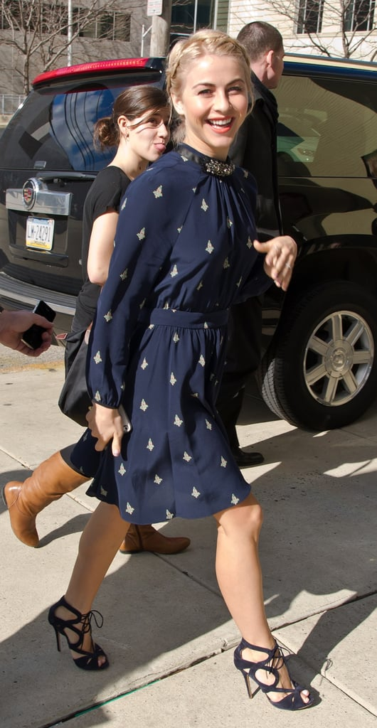Julianne was all smiles in this navy printed Juicy Couture dress ($200, originally $298) and cut-out Nicholas Kirkwood sandals on her way to the Talk Philly show in Pennsylvania.