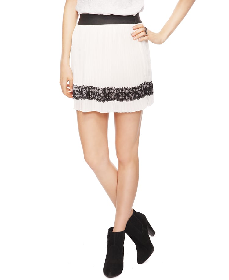 We'd dress this lace skirt down with a chambray button-down or slouchy gray tee. Forever 21 Pleated Lace Appliqué Skirt ($16)