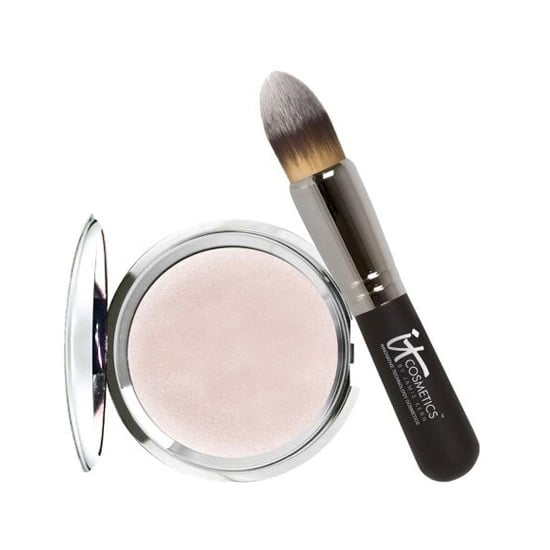 """Faking a full night's sleep is a reality with It Cosmetics' Hello Light Creme Luminizer ($35). The satiny, lightweight formula glides on like silk, leaving behind a lit-from-within glow. Use the included tapered brush on the cheekbones, bridge of the nose, and inner corners of the eyes for an """"I slept eight hours"""" effect. — Jaime Richards"""