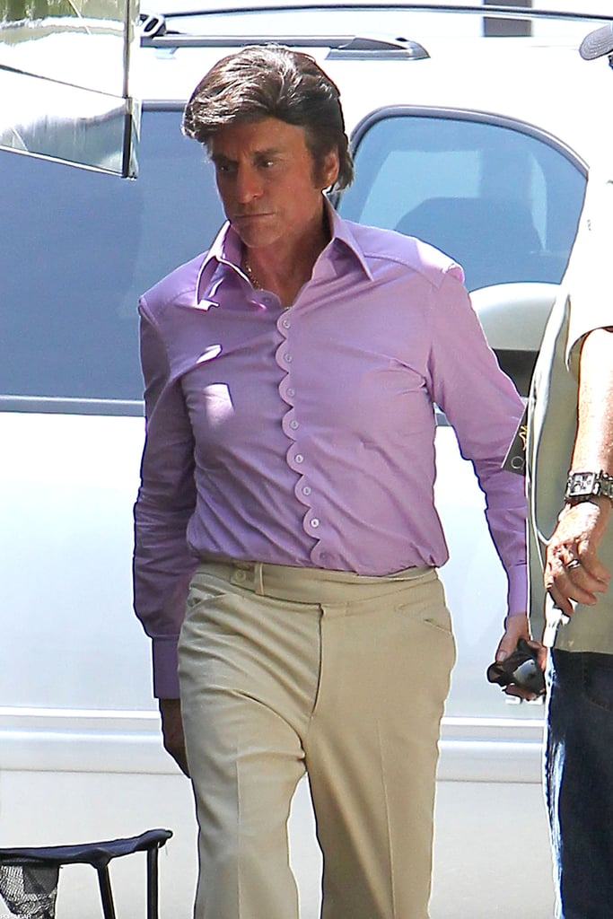 Michael Douglas wore a gray wig on the set of Behind the Candelabra.