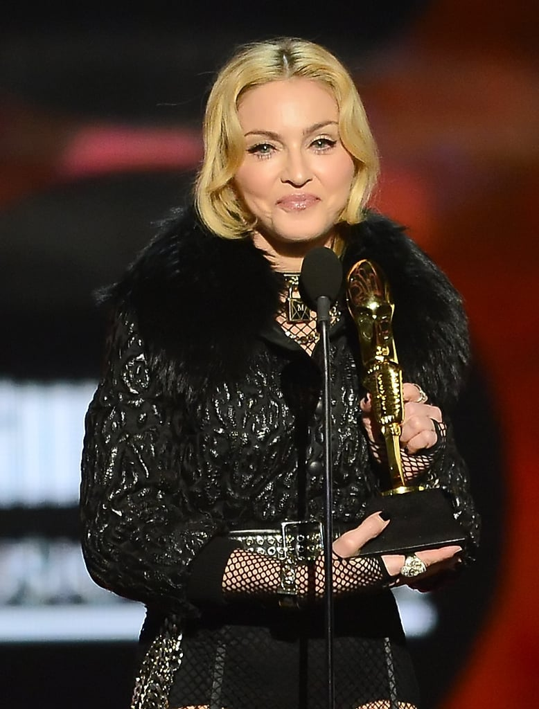 Madonna smiled as she accepted her award.