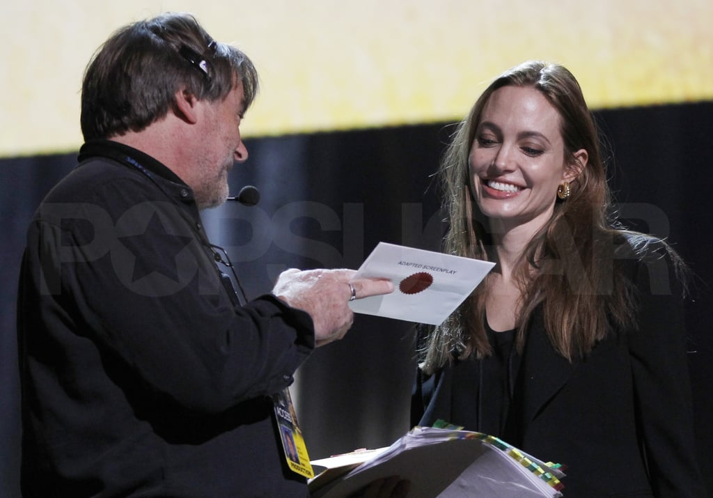 Angelina Jolie Rehearses For Tomorrow's Oscars Show