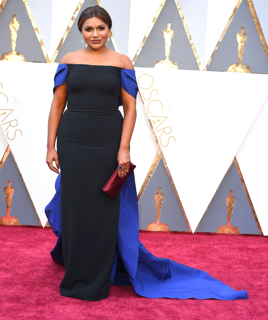 Elegant in an off-the-shoulder Elizabeth Kennedy gown at the Oscars in 2016.